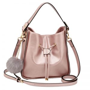 Champagne Drawstring Tote Bag With Faux-fur Bag Charm