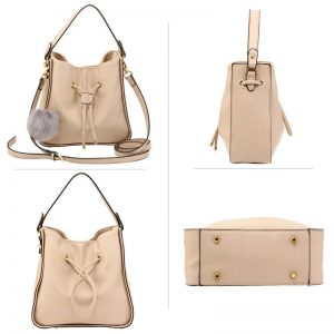 Nude Drawstring Tote Bag With Faux-fur Bag Charm
