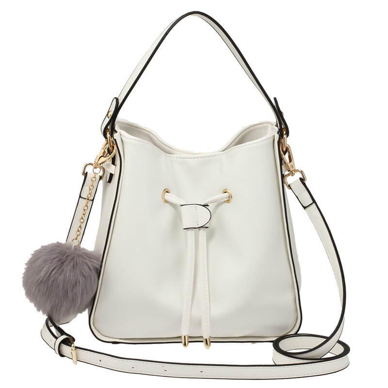 White Drawstring Tote Bag With Faux-fur Bag Charm