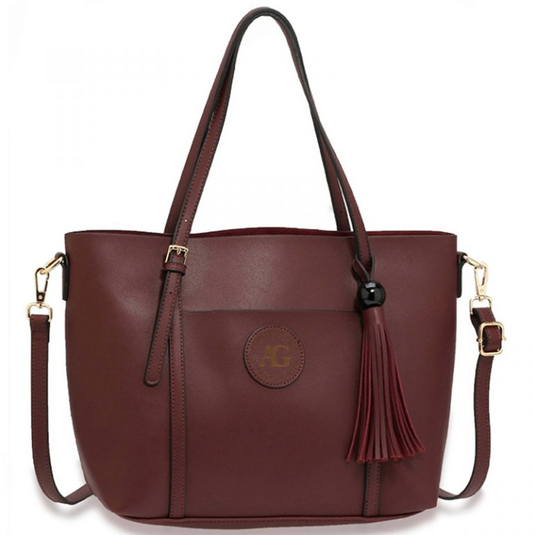 Burgundy Anna Grace Fashion Tote Bag With Tassel