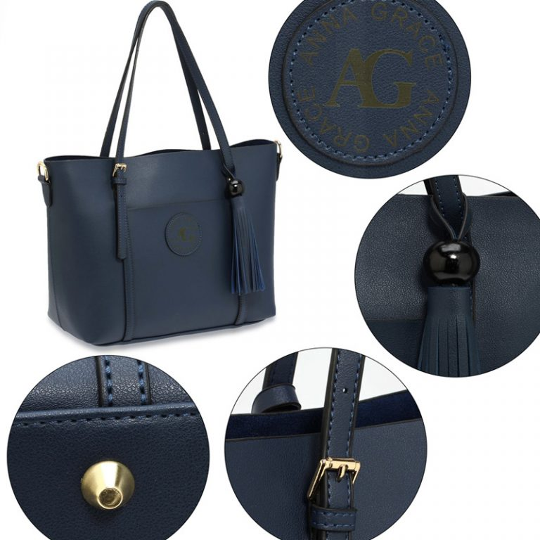 Navy Anna Grace Fashion Tote Bag With Tassel
