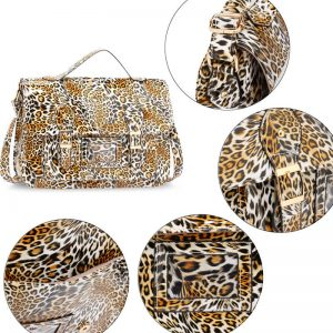 Brown Cheetah Design Satchel