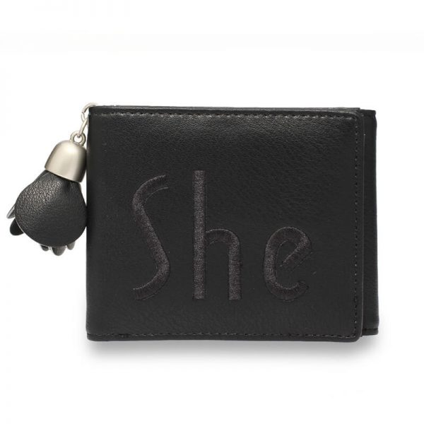 Black Trifold Purse Wallet With Charm