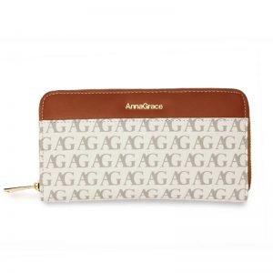 White Anna Grace Print Zip Around Purse Wallet_