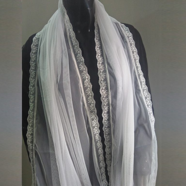 White Net Dupatta With Lace On 4 Sides