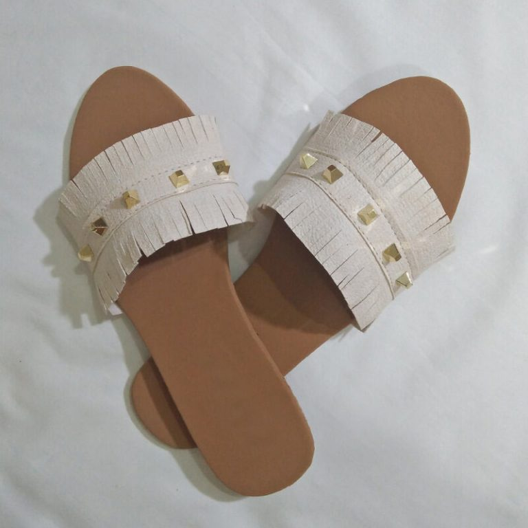 Cream Slippers With Gold Studs