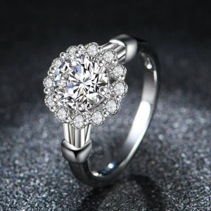 AAA Zircon Floral Silver Ring