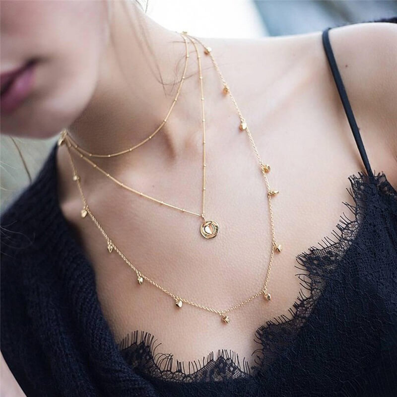 3 Layer Gold Necklace - Heart And Beads Design