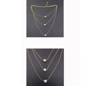 3 Layer Gold Necklace With Pearls