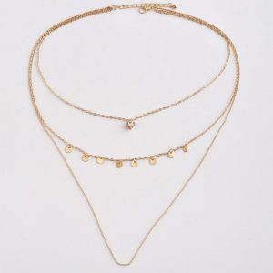 4 Layer Gold Necklace Circle Design