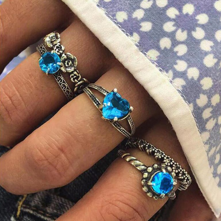 5 PC Ring Set Silver With Blue Stone
