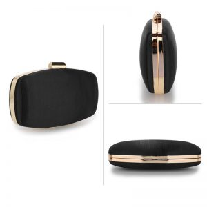 Black Satin Evening Clutch Bag