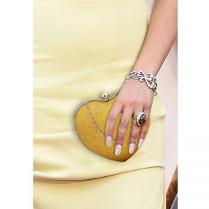 Gold Glitter Hardcase Heart Clutch Bag