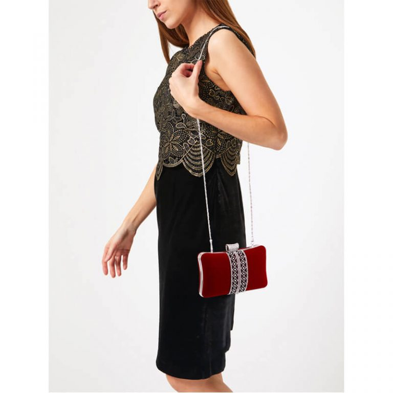 Red Sparkly Crystal Evening Clutch Purse