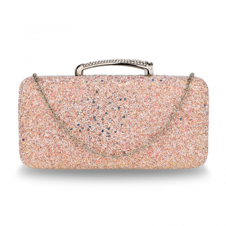 Champagne Glitter Evening Wedding Clutch Box