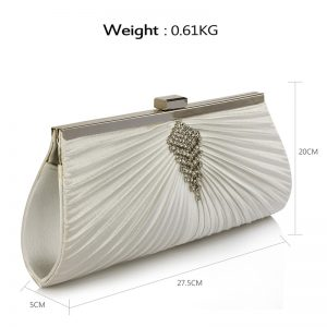 Ivory Satin Clutch Bag With Crystal Decoration
