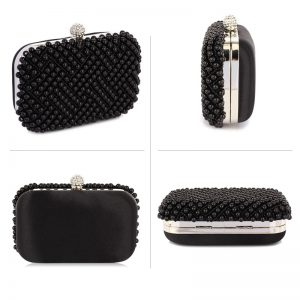 Black Beaded Pearl Rhinestone Clutch Bag