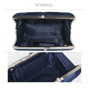 Navy Satin Evening Clutch Bag
