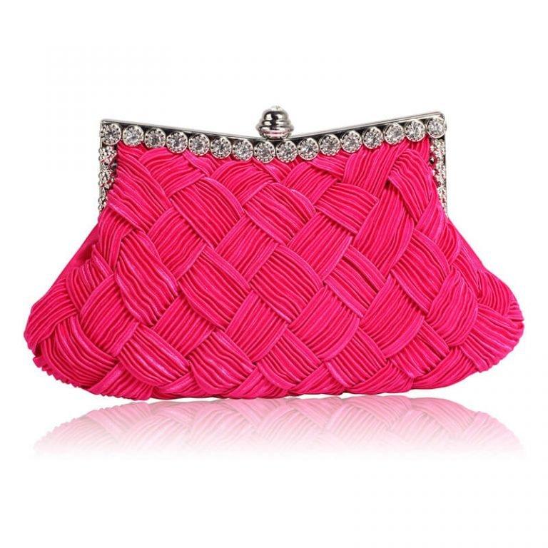 Pink Crystal Evening Clutch Bag