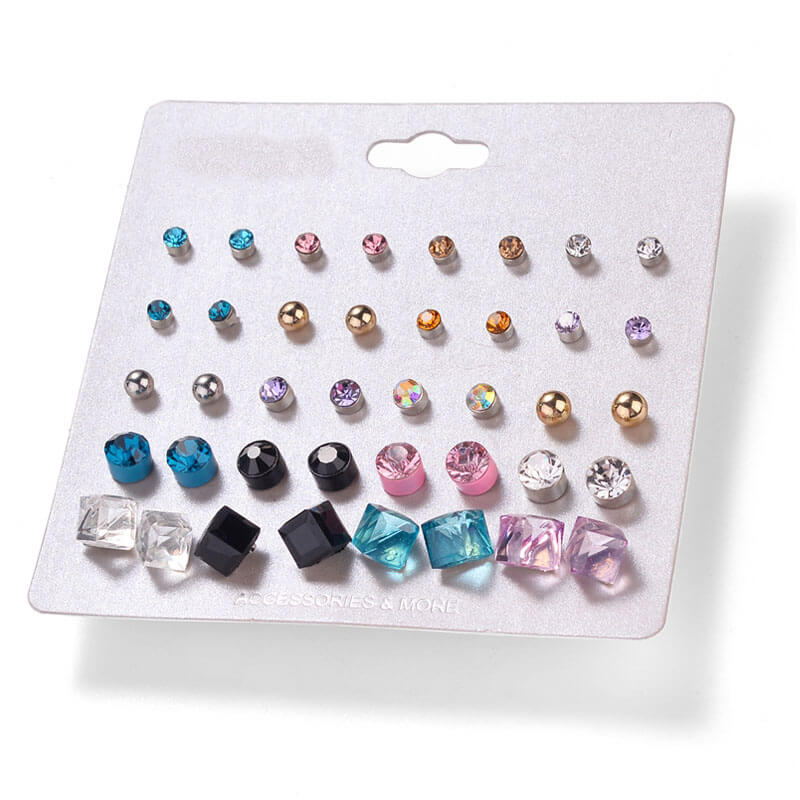 20 Pair Stud Earring Set - Multi Color