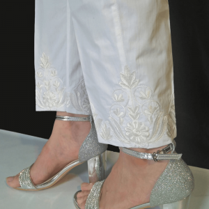 Floral Embroided - White Cotton Trouser - For Ladies