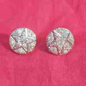 Silver Stud Star Design Earring - Zircon