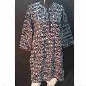 Full Paisley Embroided Ladies Kurti Top - Black