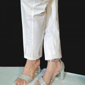 KT50 White Embroided Trouser - Pure Cotton