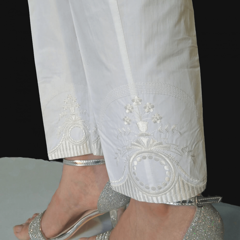 Embroided Trouser Cotton Pant White