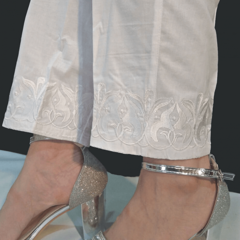 White Embroided Trouser Cotton Pant