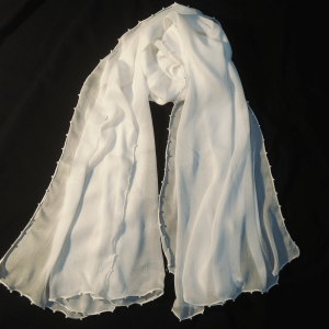 Pure Chiffon Dupatta Large White With 4 Sided Pearls