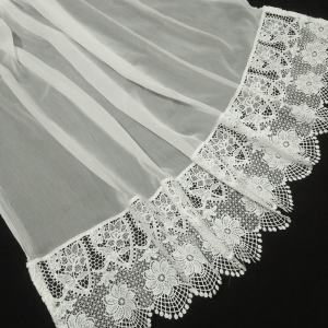 Dupatta With Large Folral Lace On Bottoms
