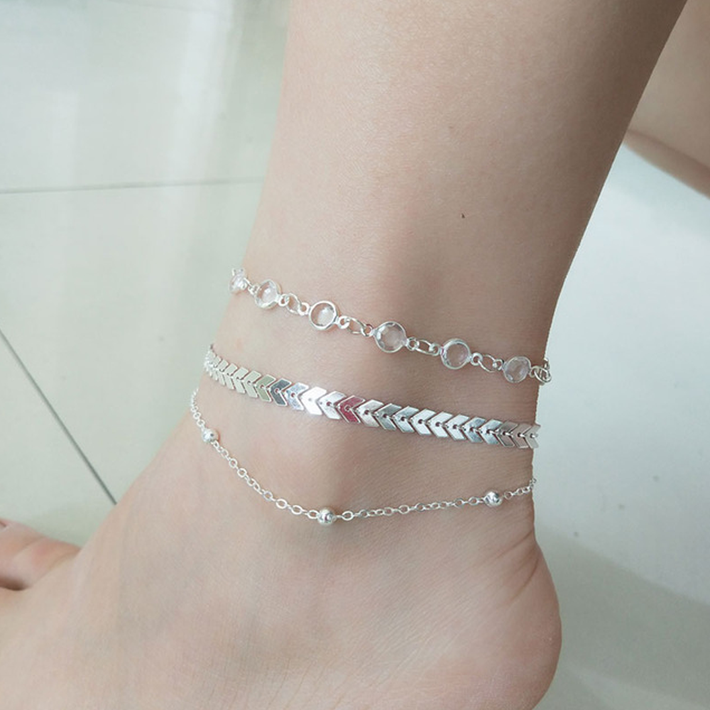 3 PC Anklet Set For Women - Silver