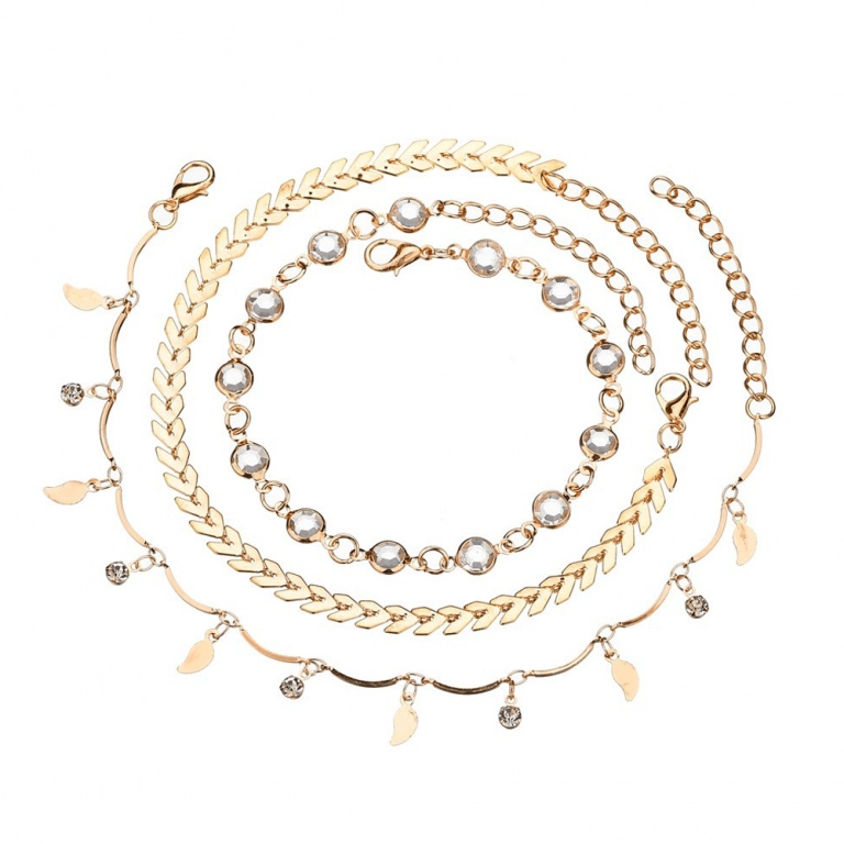 3 PC Anklet Set For Women - Gold
