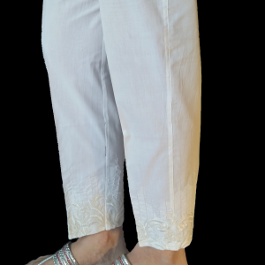 Embroided Trouser Cotton Pant For Women - White