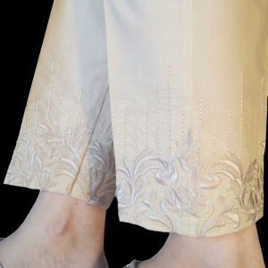 Embroided Trouser Cotton Pant For Women - Beige