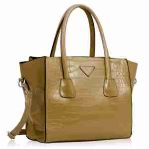 Three Top Zipper Nude Croc Tote Handbag