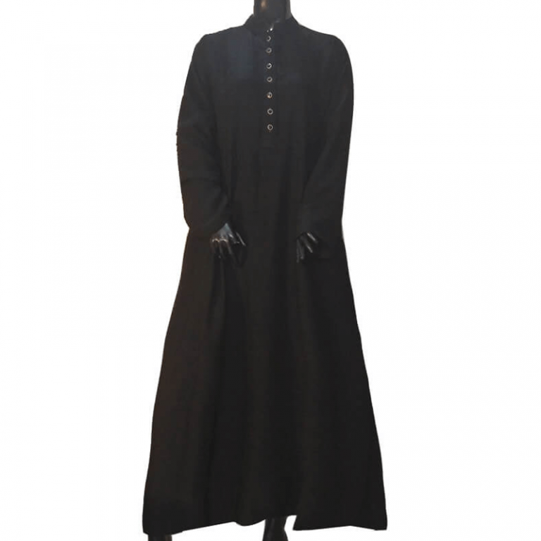Black Maxi Abaya With Front Bottons
