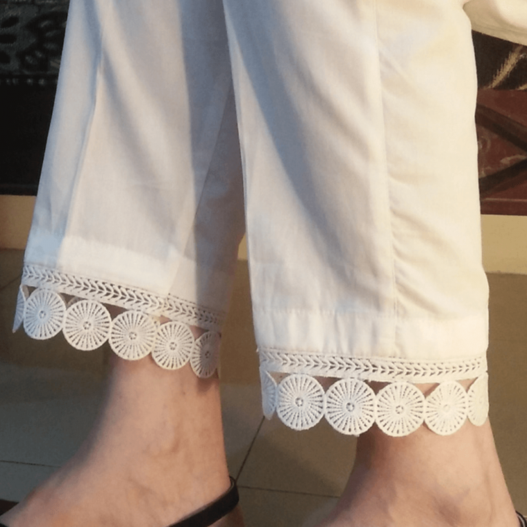 White Pure Cotton Trouser With Lace