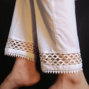 White Pure Cotton Trouser For Women With Laces – 1