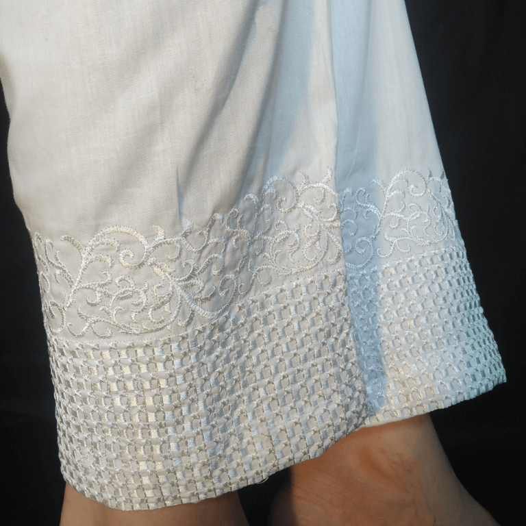 Embroided Trouser Pant Cotto White