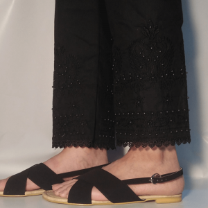 Embroided Trouser Pant With Beads Black