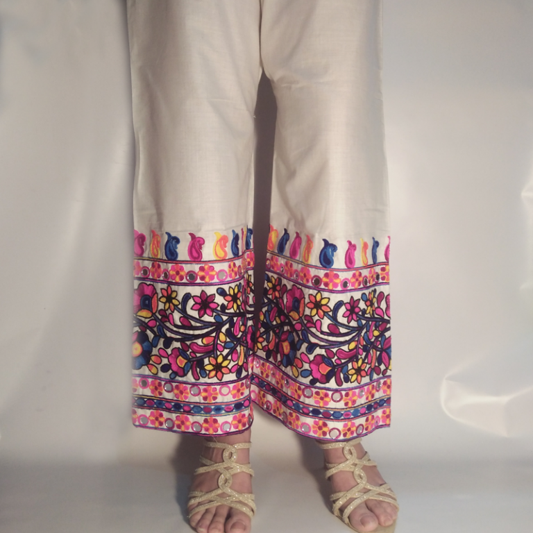 Multi Embroided With Mirror Work Palazzo Trouser