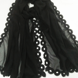 Black - Chiffon Dupatta With Lace On all 4 Sides