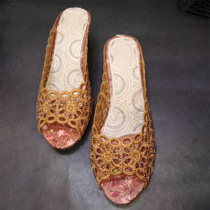 Flat Shoes With Stone Gold 2