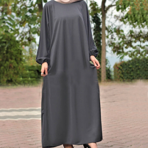 Round Neck Abaya With Elasticated Sleeves