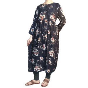 Floral Printed Malai lawn Long Frock Soft Trendy Navy