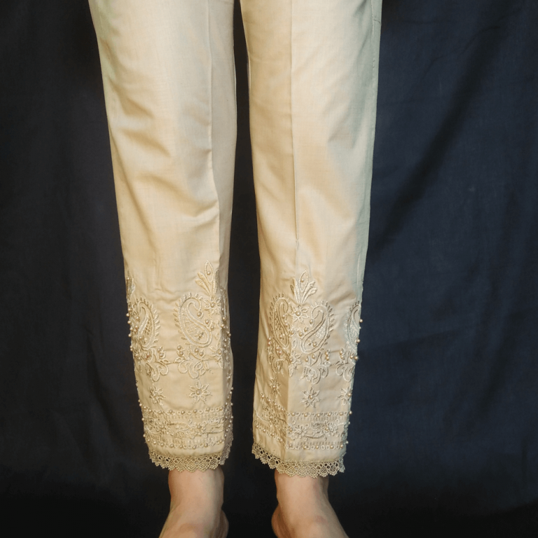 Embroided Trouser Pant With Beads Beige