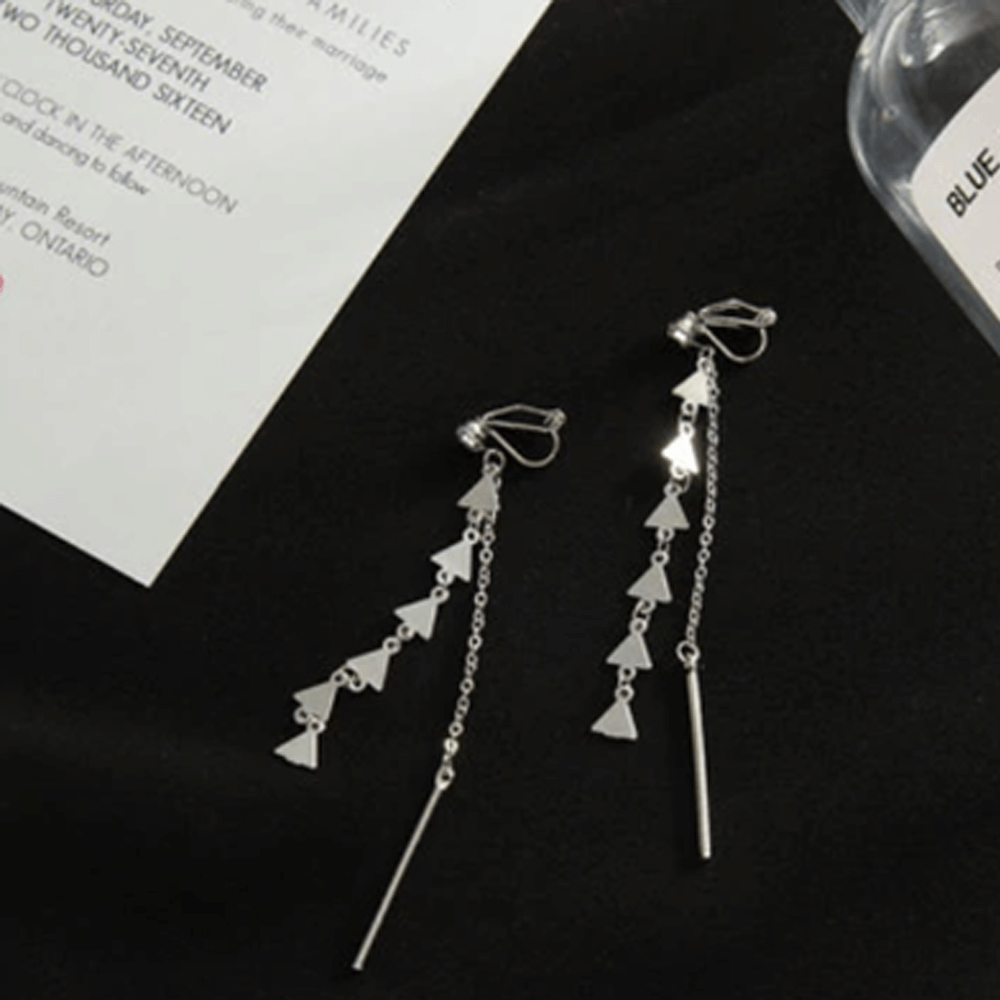 Silver - Triangular Long Drop Earring For Women Ladies - High Quality