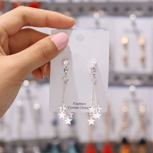 Silver - Stars Drop Earring For Women Ladies - High Quality
